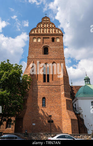 Church of the Visitation of the Blessed Virgin Mary gothic tower in Warsaw, Poland. - Stock Photo