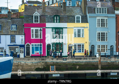 Weymouth Harbour (or the Old Harbour) a picturesque harbour with 17th-century waterfront at seaside town Weymouth in Dorset, southern England. UK. - Stock Photo