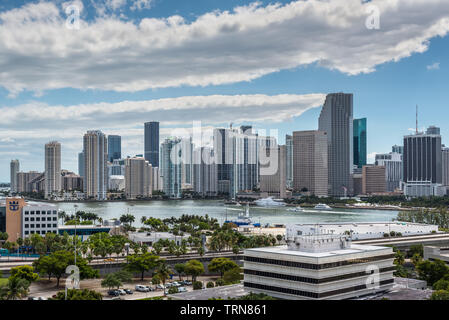 Miami, FL, United States od America - April 20, 2019: Downtown of Miami Skyline viewed from Dodge Island at Biscayne Bay in Miami, Florida, USA. - Stock Photo