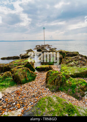 Line of wet, seaweed covered rocks leads out in to the Solent estuary - Stock Photo