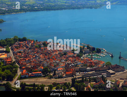Scenic view of Lindau on a sunny summer day - Stock Photo
