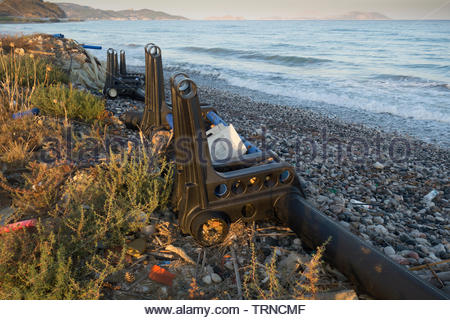 Europe, Greece, 2018: View Of Dumped Plastic On A Greek Beach (Not Cleaned For Tourists). Possibly Parts Of A Fish Farm, Washed Ashore - Stock Photo