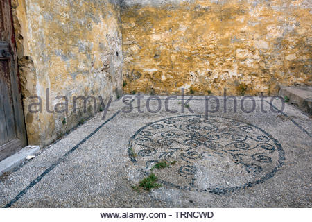 Europe, Greece, 2018: View Of Natural Stone Wall Within Small Traditional Greek House - Stock Photo