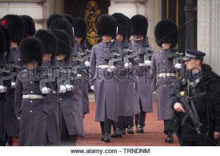 Europe, UK, London, 2018: View Of Ceremony of Changing the Guard, Buckingham Palace - Stock Photo