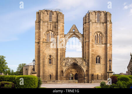 Two towers of 13th century Gothic Cathedral ruins in Elgin, Moray, Scotland, UK, Britain - Stock Photo