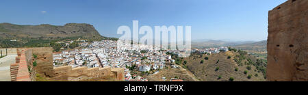 Panorama of Alora Andalucia Spain taken from castle wall. - Stock Photo
