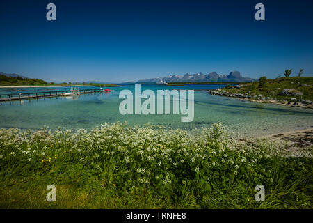 Landscape from Heroy Camping, Heroy Island, Norway, summer 2019. - Stock Photo