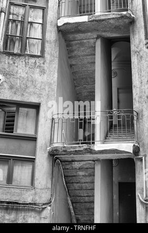 Apartment building  in vieux Lyon in black and white - Stock Photo