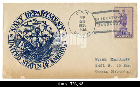 USS Decatur, Bridgetown, Barbados - 24 February 1938: US historical envelope: cover with cachet Navy department, United states of america, frigate - Stock Photo