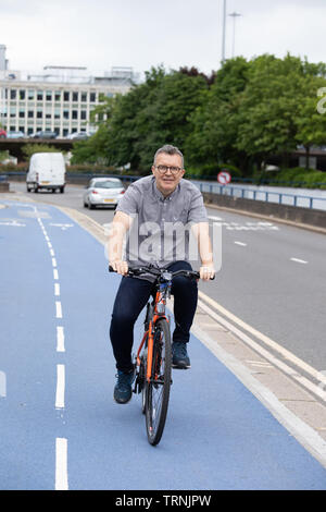 Tom Watson, Deputy Leader of the Labour party pictured at a cycling event in Birmingham. Tom is known for losing a tremendous of weight. - Stock Photo