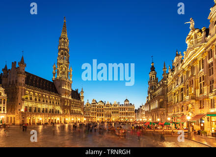 Brussels grand place brussels Hotel de ville town hall grand place at night Brussels Belgium Eu Europe - Stock Photo