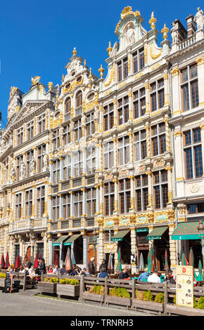 Brussels grand place Brussels ornate gables on guild halls with shops and cafes in the grand place Bruxelles city centre Brussels Belgium Eu Europe - Stock Photo