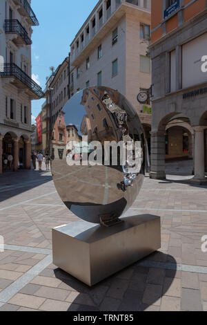 Street in old town of the Lugano - Switzerland - Stock Photo