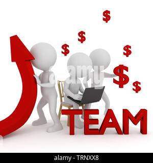 Team. 3D rendering - Stock Photo