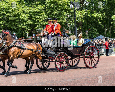 Kate ,The Duchess Of Cambridge riding in A carriage with The Duchess Of Cornwall , and The Duke and Duchess Of Sussex ,Trooping The Colour Parade,2019 - Stock Photo