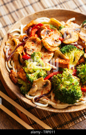 Stir-fried Veggies on Udon Noodles - Stock Photo