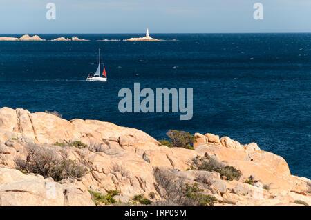 caprera sardinia monaci island with boat - Stock Photo