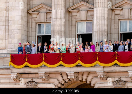 The Queen and other memebersThe Royal Family on The Buckingham Palace Balcony following the Trooping Of The Colour Ceremony ,London 2019 - Stock Photo