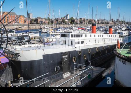 Titanic,ship,boat,hotel,apartment,Brunswick Dock,Liverpool Marina,Liverpool,Merseyside,Northern,city,England,UK,GB,Great Britain,Europe, - Stock Photo