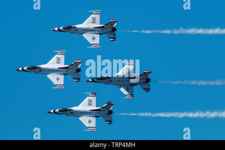 Wantagh, New York, USA - 24 May 2019: The United States Air Force Thunderbirds in diamond formation at a free practice round Friday of Memorial day we - Stock Photo
