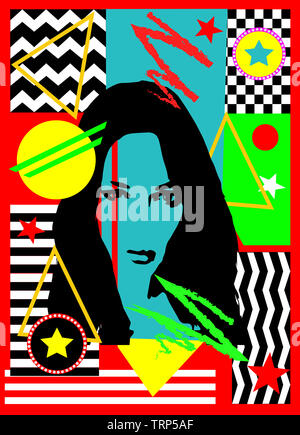 Avatar girl, silhouette, abstract pop art, colorful background