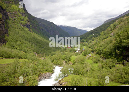 River flowing through the Flamsdalen valley, Flaam, Noway - Stock Photo