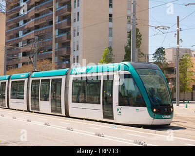Barcelona, Spain. May 2019. Trams are an important means of public transportation in Barcelona. They are operated by TMB and Trammet. - Stock Photo