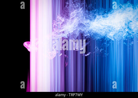 Abstract light blue, pink and purple trails and smoke in random motion background image. Striped Neon Lights in Rainbow Colors - Stock Photo