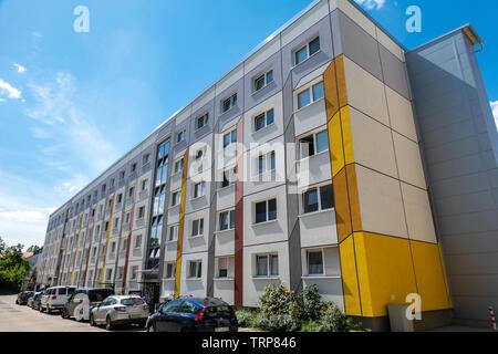 Dessau renovated Plattenbau flats, apartment buildings. Prefabricated with large concrete panels in the DDR, GDR, era. Dessau former East Germany. - Stock Photo