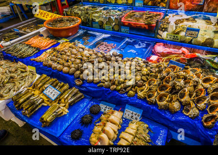 Seoul, South Korea - May 17, 2017:   Noryangjin Fish Market, the largest and oldest fish market in Korea, located in the Noryangjin-dong neighborhood. - Stock Photo