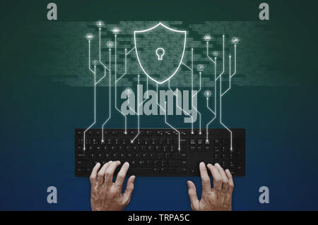 Internet, online network, social networking and online application security system. Hand typing on computer keyboard - Stock Photo