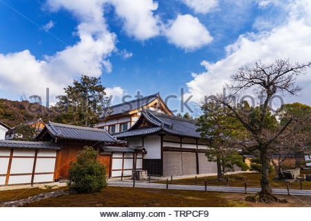 The Kuri Building from the side in the zen buddhism Kinkakuji temple in Kyoto, Japan.UNESCO World Heritage Site. - Stock Photo