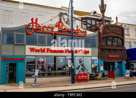Harry Ramsdens Fish and Chip restaurant, complete with takeaway booth, in the seaside town of Great Yarmouth, Norfolk - Stock Photo