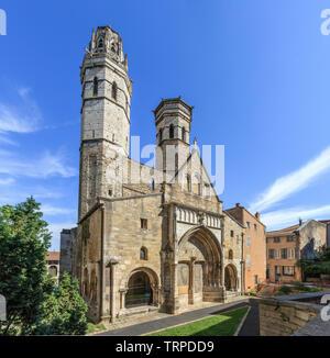 France, Saone et Loire, Macon, the Vieux Saint Vincent, old Saint Vincent cathedral, primitive cathedral of Macon, the facade // France, Saône-et-Loir - Stock Photo