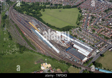aerial view of the Neville Hill Depot, railway company, east Leeds - Stock Photo