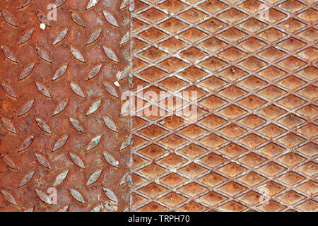 Rusty metal anti-skid surface texture, abstract industrial background - Stock Photo