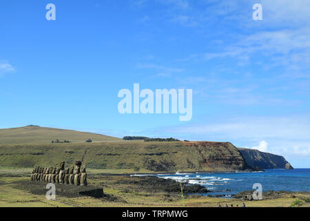 Moai statues of Ahu Tongariki with Pacific ocean in the Backdrop, Archaeological site in Easter Island, Chile, South America - Stock Photo