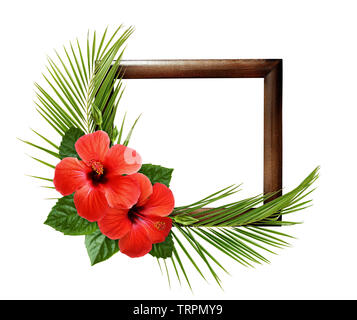 Red hibiscus flowers and palm leaves in corner tropical arrangement on wooden frame isolated on white - Stock Photo