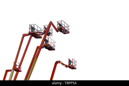 Orange articulated boom lift. Aerial platform lift. Telescopic boom lift isolated on white background. Mobile construction crane for rent and sale. - Stock Photo