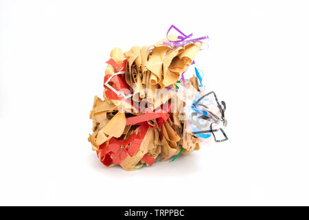 Colorful crumpled paper brown shape adhesive tape grotesquely,on white background - Stock Photo