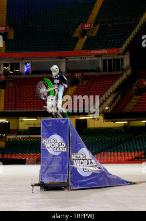 Cardiff, Wales, UK. 11th June 2019. Nitro World Games announce that the world's best action sports competition is coming to Wales in spring 2020. Elite competitors in Freestyle Motocross, BMX, skate and freestyle scooter will be vying for trophies and bragging rights. The event is a partnership between Nitro Circus, Live Nation, Principality Stadium, Visit Wales and Cardiff Council. Credit: Mr Standfast/Alamy Live News - Stock Photo
