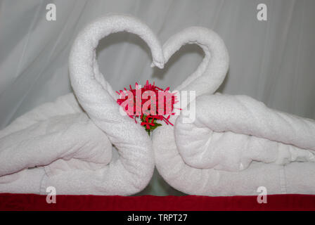Towels folded to represent two swans, with their necks to create a heart, as a welcome on the bed in the first wedding night - Stock Photo