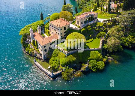 Aerial view of the Villa del Balbianello, on the Lavedo peninsula. Lenno, Tremezzina, Como Lake, Lombardy, Italy.
