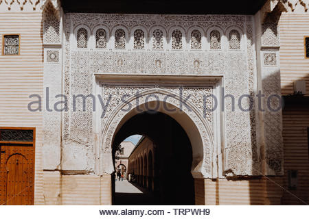 Impressions from mayor city and Kingdom of Morocco -  Marrakesh.  It is the fourth largest city in the country, after Casablanca, Fez and Tangier. - Stock Photo