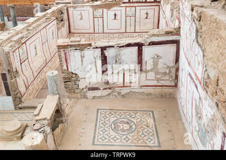 Room 16A, Terrace House 2, with Medusa mosaic on thefloor and painted frescos on the walls, Ephesus, Turkey - Stock Photo