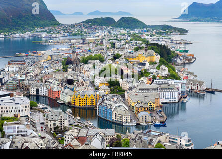 Aerial view over the town and port from the Kniven Viewpoint, Aksla Hill, Ålesund, Møre og Romsdal, Sunnmøre, Norway - Stock Photo