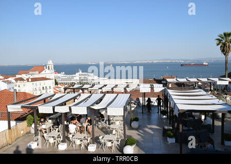 MS Europa cruise ship at the cruise terminal from Largo das Portas do Sol, Lisbon, Portugal, June 2019 - Stock Photo