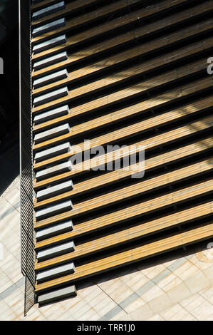 outdoor wood stairs with shadow aerial view - Stock Photo
