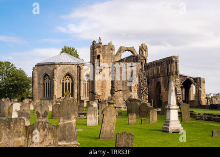 13th century Gothic Cathedral ruins in Elgin, Moray, Scotland, UK, Britain - Stock Photo