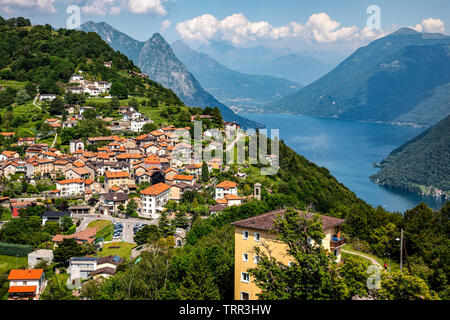 Beautiful view of Bre town in Switzerland with Lake Lugano at the background - Stock Photo